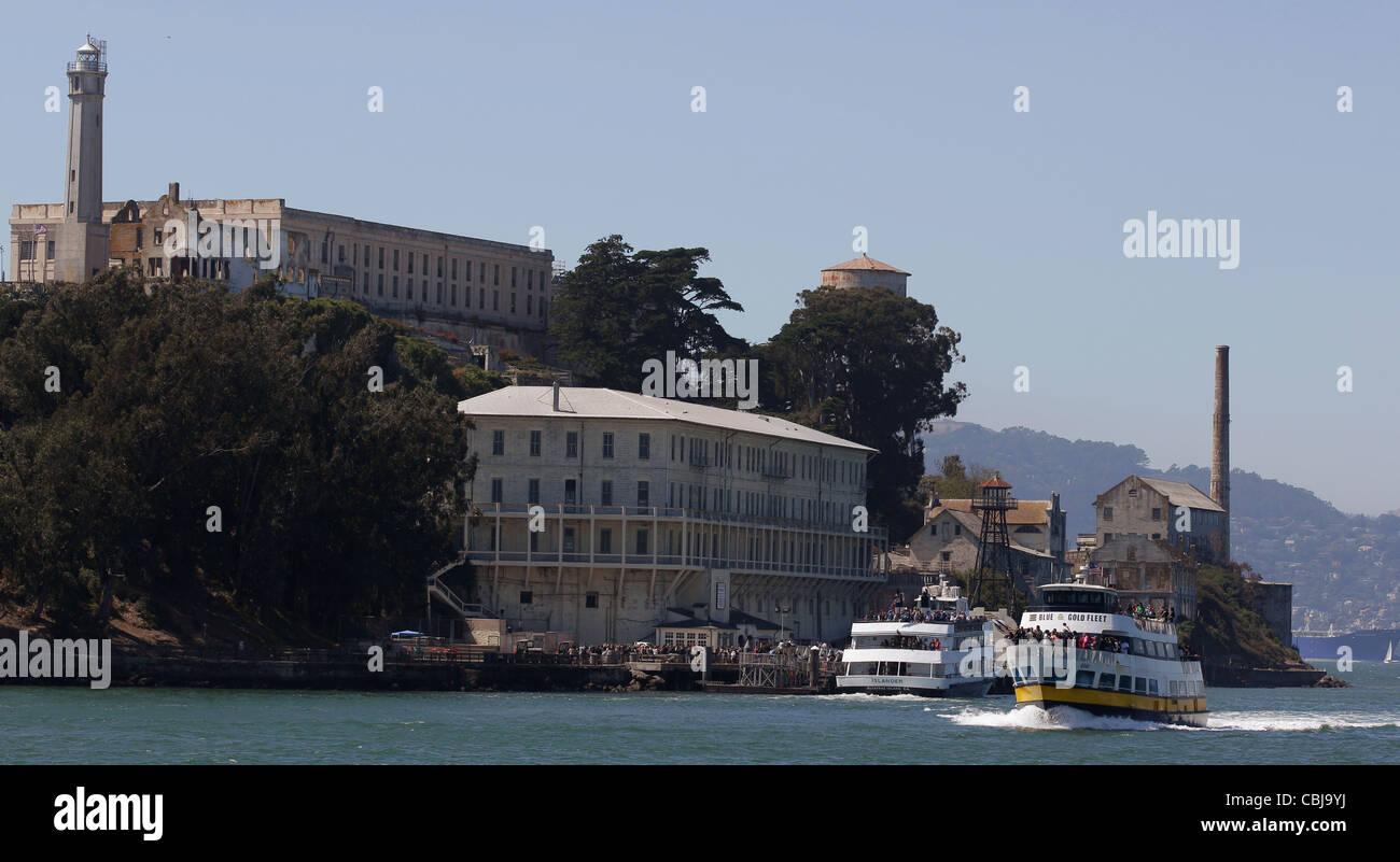 Alcatraz prison Tourism Guard tower cell block - Stock Image