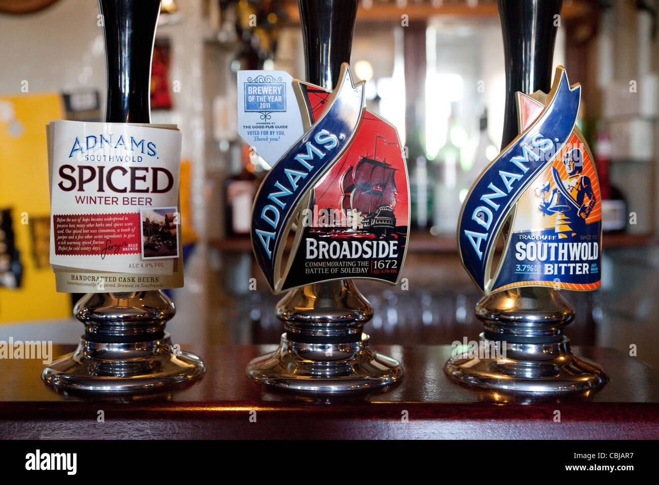 Adnams beer pumps, The Bell inn, Middleton, Suffolk UK - Stock Image