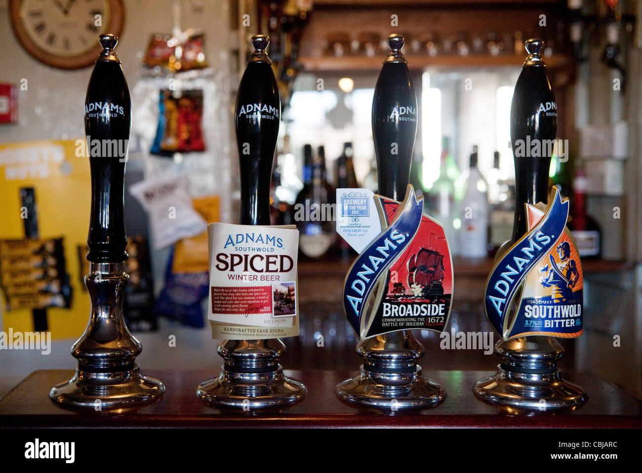 Adnams beer pump pumps, The Bell inn, Middleton, Suffolk UK - Stock Image
