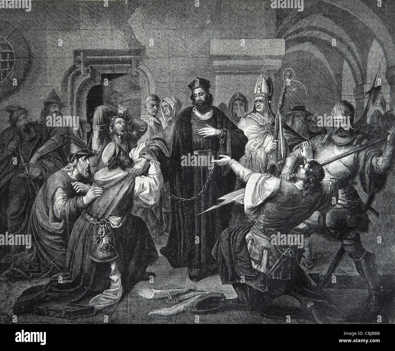 Jan Hus, John Hus or Huss (c1369-1415) Czech Priest & Church Reformer Refusing to Reject His Religious Doctrines, - Stock Image