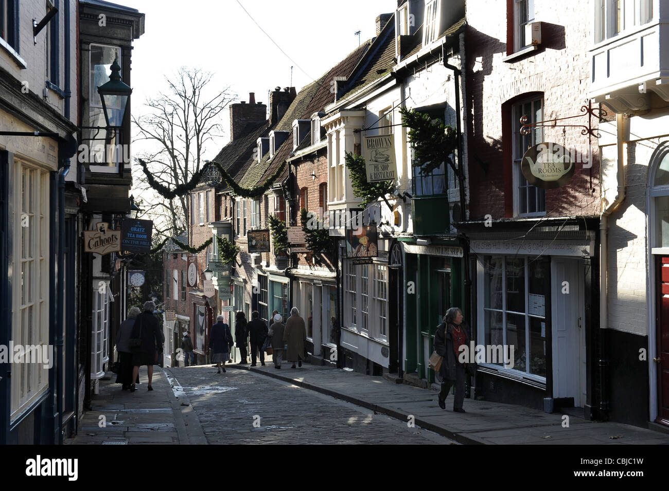 The top of Steep Hill in Lincoln city centre England. - Stock Image