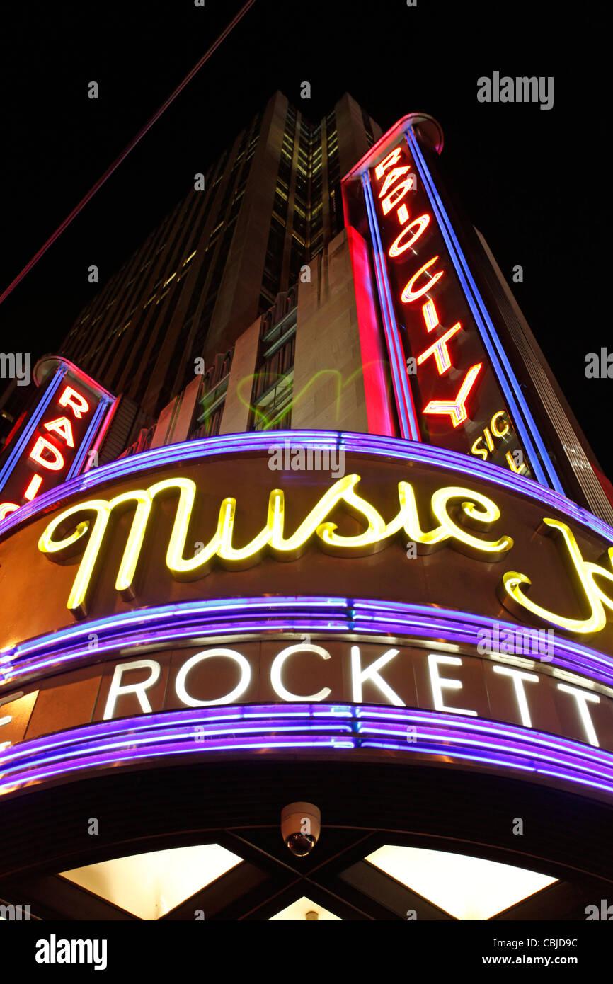 Radio City Music Hall neon light sign, New York - Stock Image
