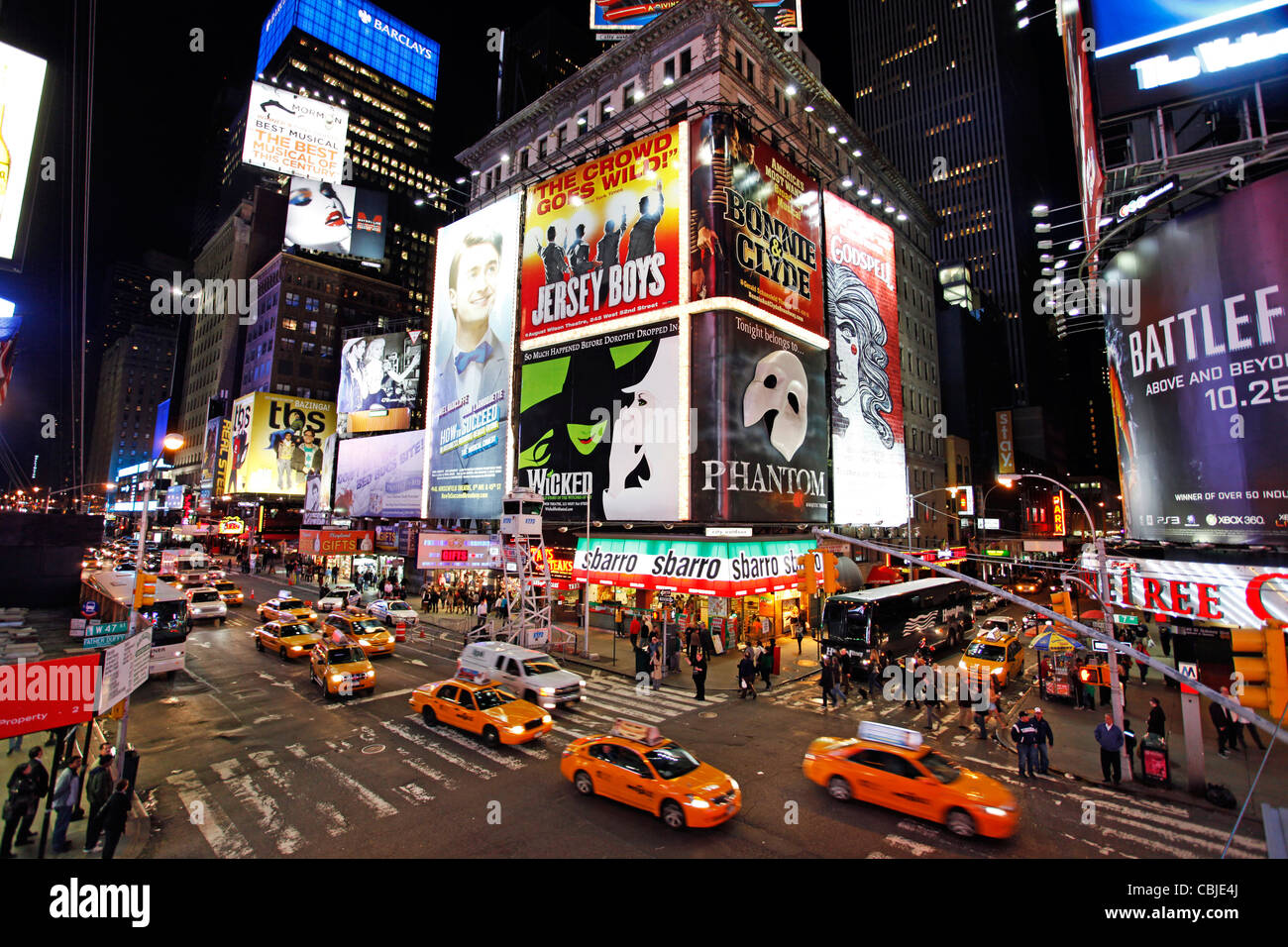 Neon Lights in Times Square, New York - Stock Image
