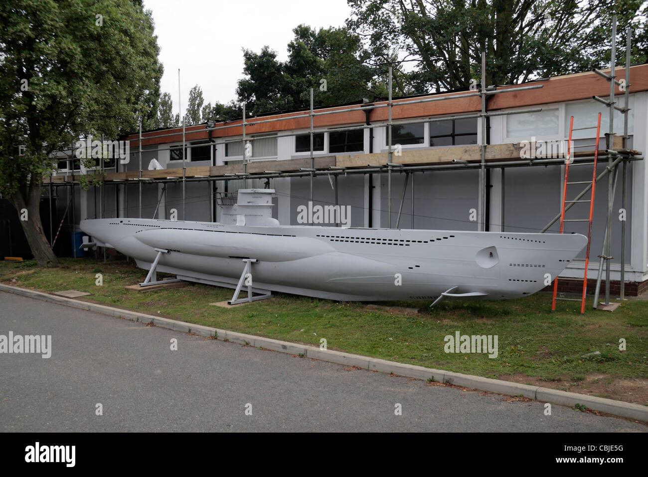 A scale model of a German World War II U-boat in the grounds