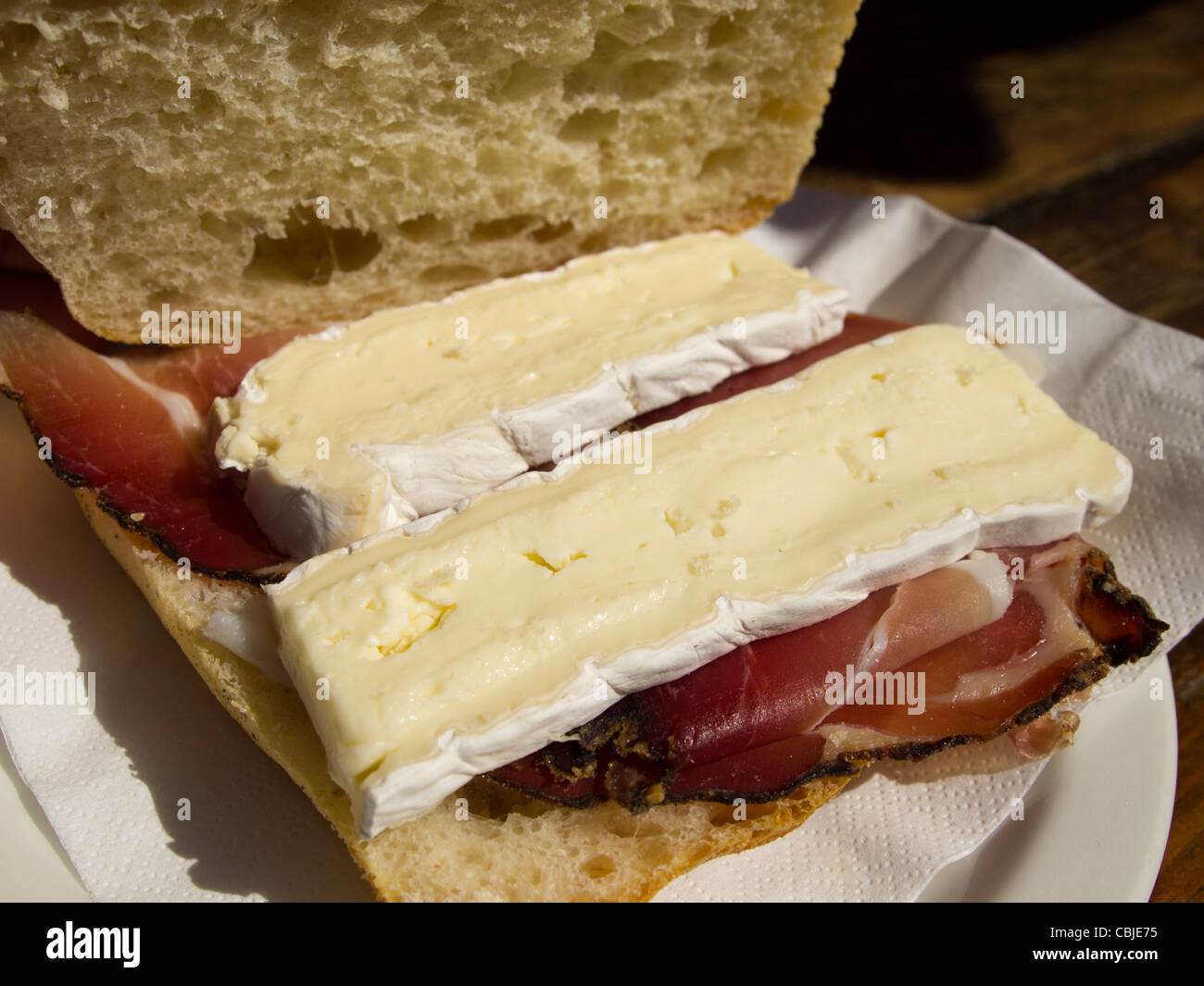 Spec and Brie Sandwich served at Courmayeur, Italy Stock Photo
