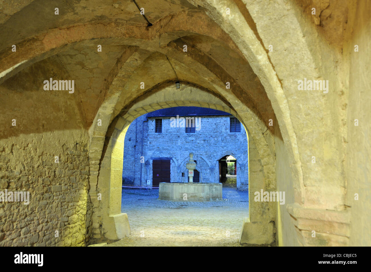 View at courtyard in the cloistre of Baume-les-Messieurs, Jura, Franche Comte, Eastern France, Europe - Stock Image
