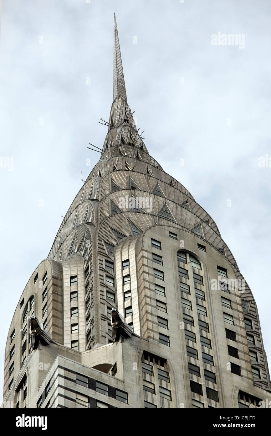 The art deco architecture of the Chrysler Building in New York, United States of America - Stock Image