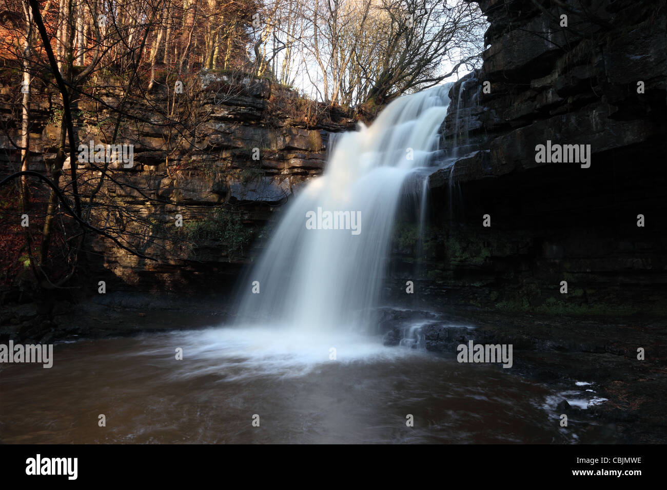 Summerhill Force and Gibsons Cave, Bowlees Teesdale, County Durham UK - Stock Image