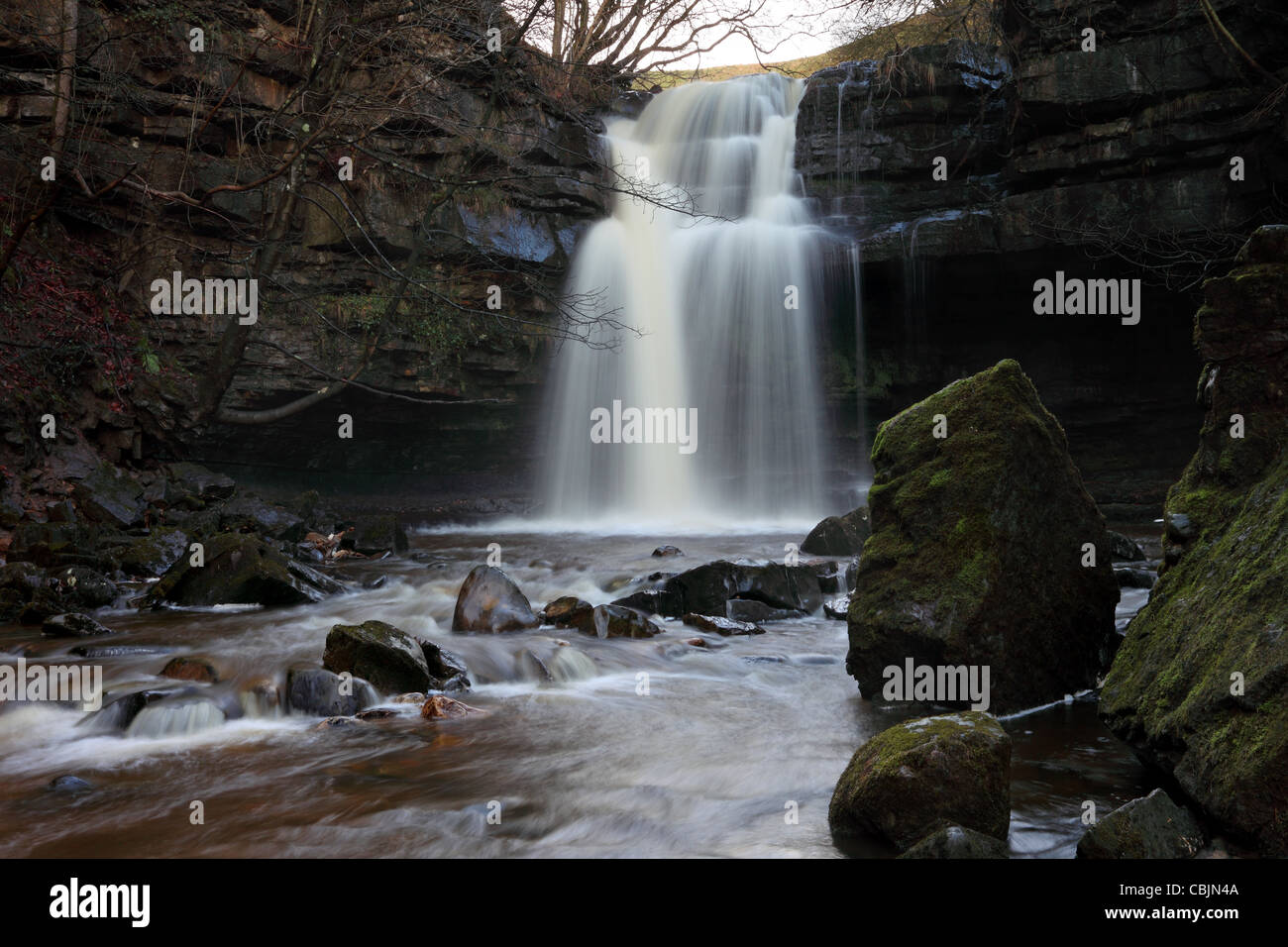 Summerhill Force and Gibsons Cave Bowlees Teesdale County Durham UK - Stock Image