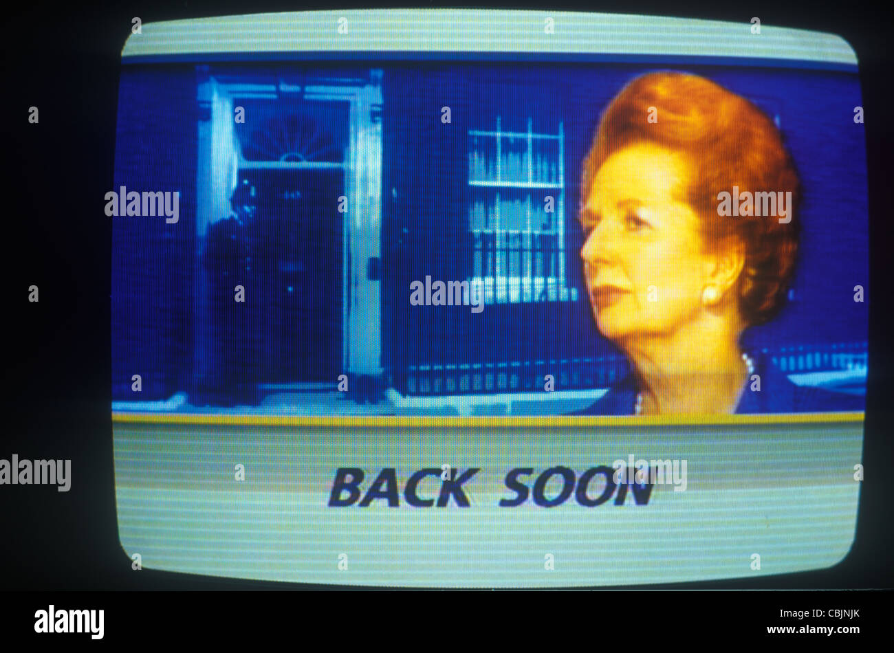 Mrs Margaret Thatcher as seen on ITN news, resignation 22/11/1990. 10 Downing Street background. - Stock Image