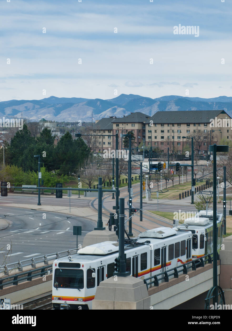 Lightrail in downtown Denver. - Stock Image