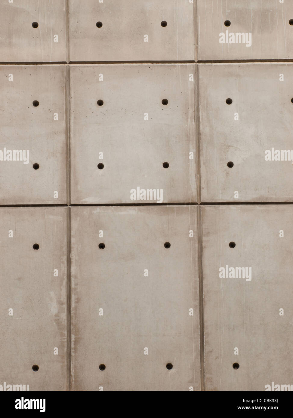 Raw Concrete Wall Background With Formwork Lines And Tie