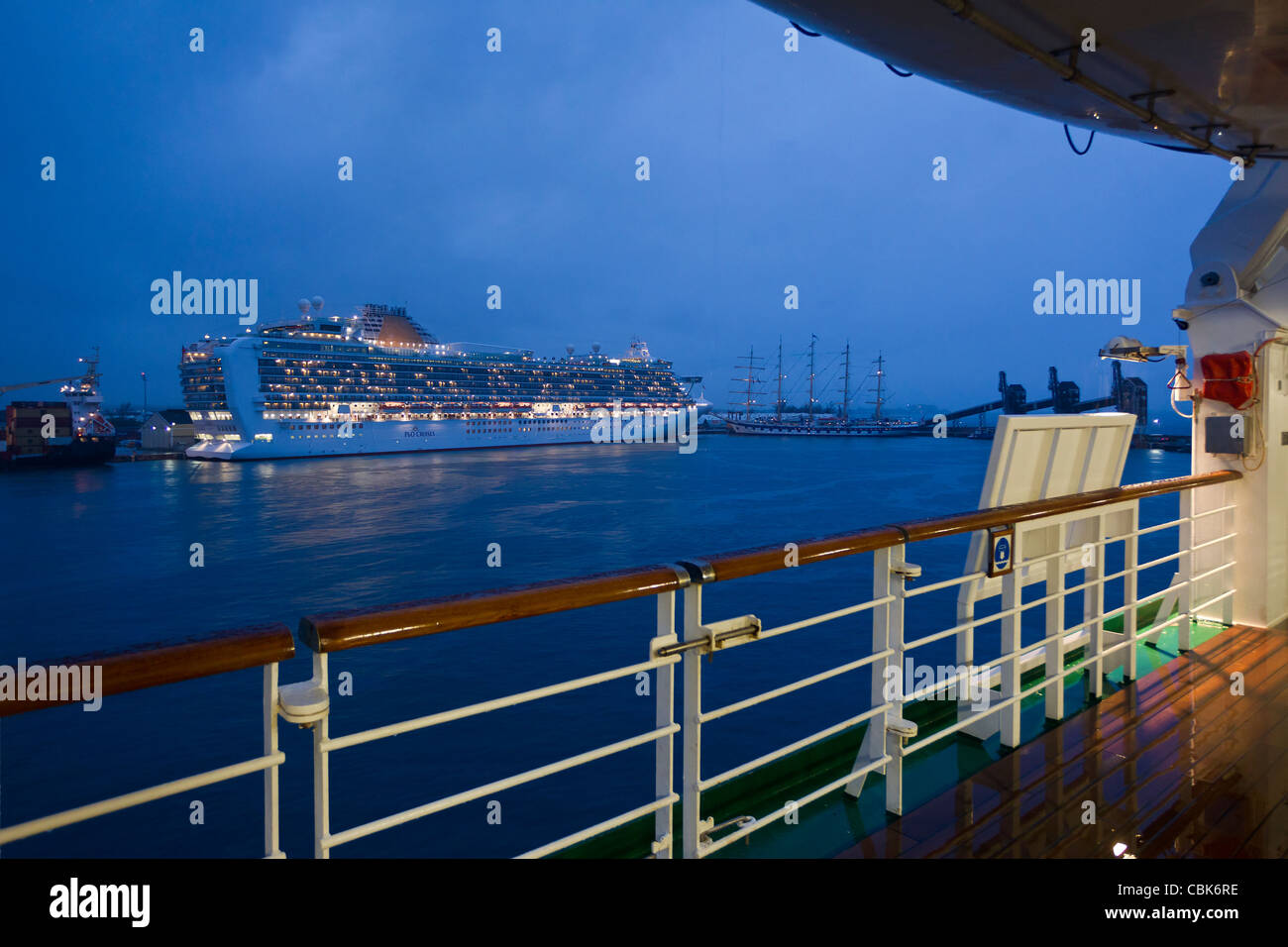 Cruise ships P&O Azura Arcadia and Star Clippers at Dusk - Stock Image