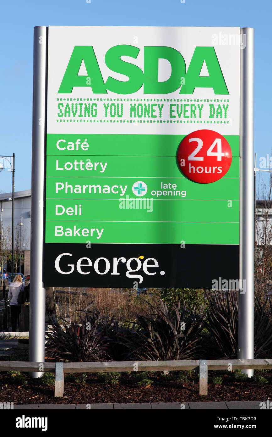 asda supermarket sign outside the store in south shields
