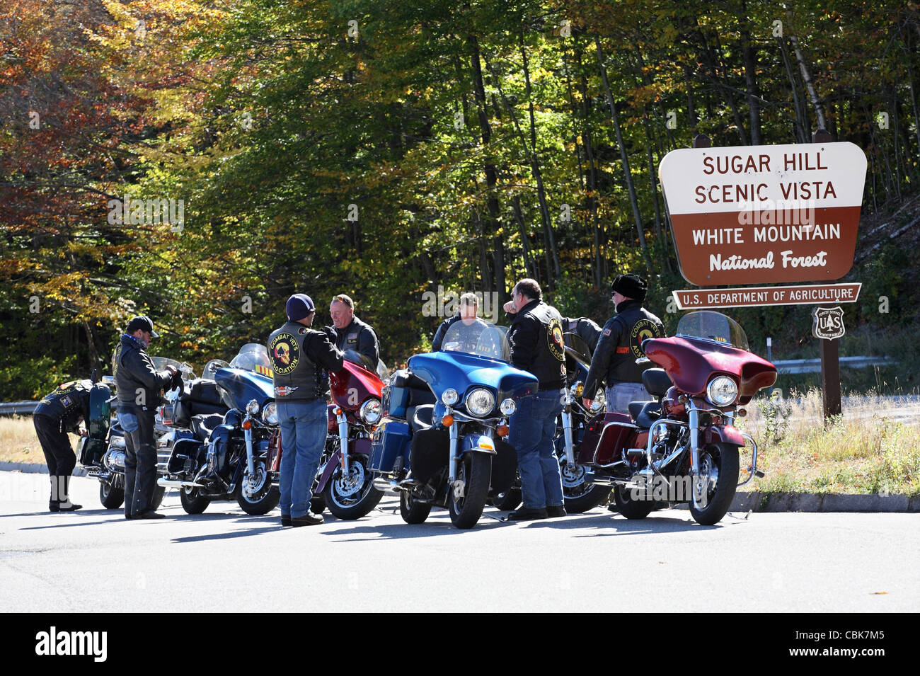 Members of the Combat Vets Association gather with their motorbikes at Sugar Hill, White Mountain, New Hampshire, - Stock Image