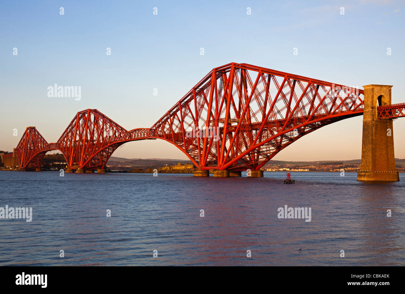 Forth Rail Bridge 2011 repainting and refurbishment now complete, South Queensferry, Scotland UK Europe Stock Photo