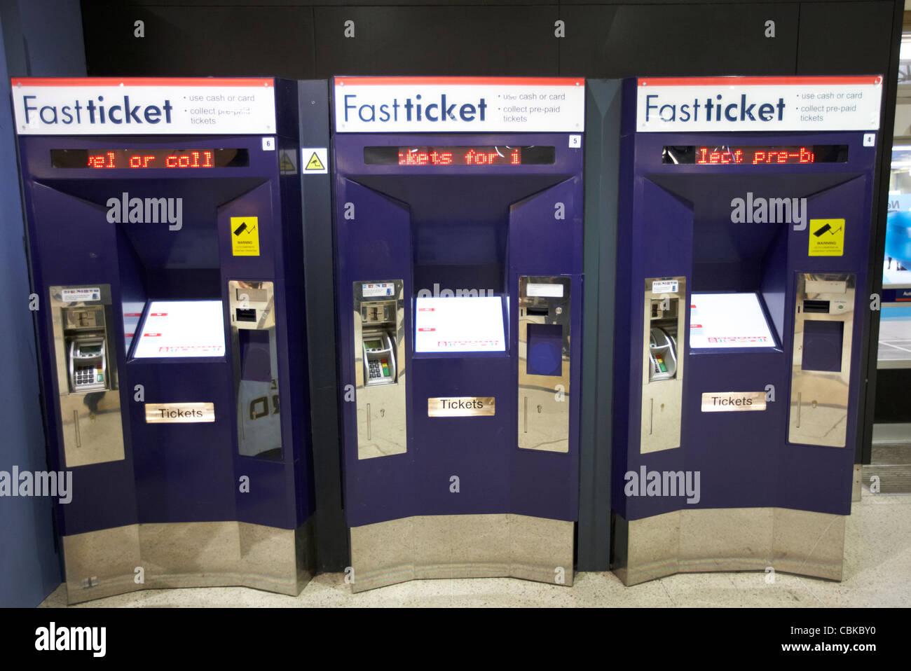 fast ticket automatic machines at kings cross rail station london england united kingdom uk - Stock Image