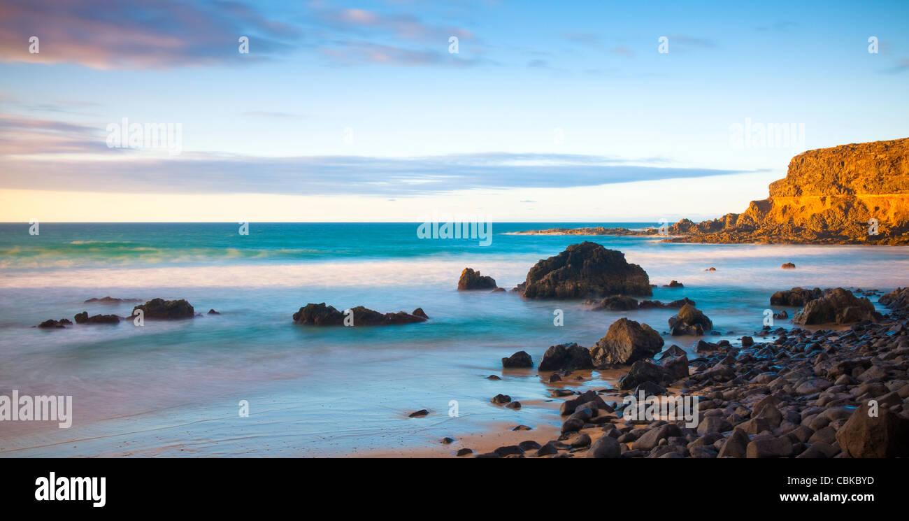 Evening light on empty beach Fuerteventura Canary Islands Spain - Stock Image