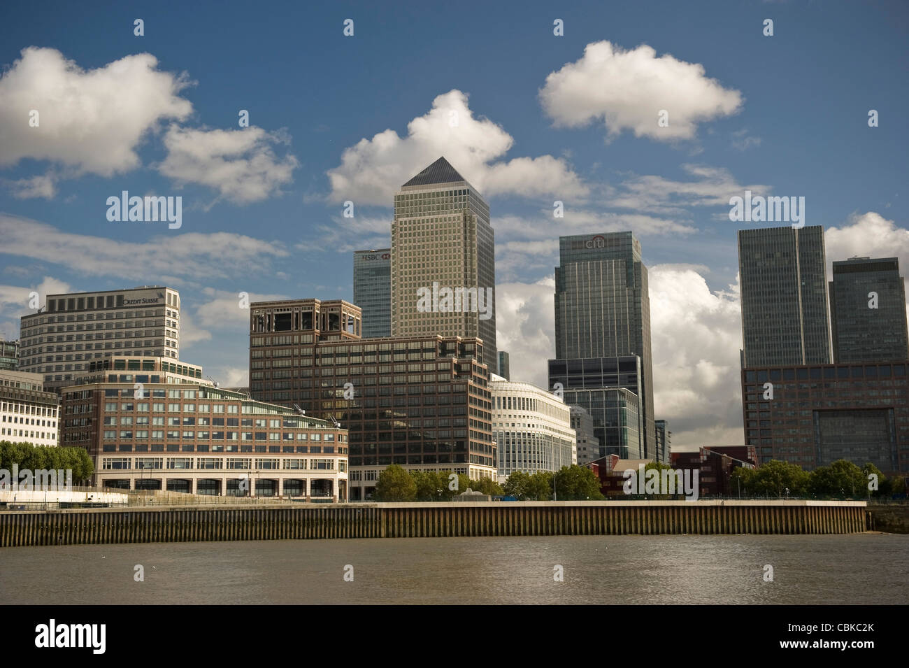 Docklands and Canary Wharf viewed from the River Thames, London, UK - Stock Image