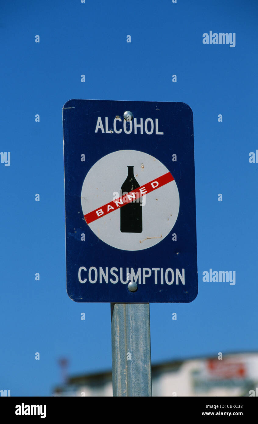 Signing indicating 'No alcohol consumption' seen at public spaces and places in Australia to reduce drunkeness - Stock Image