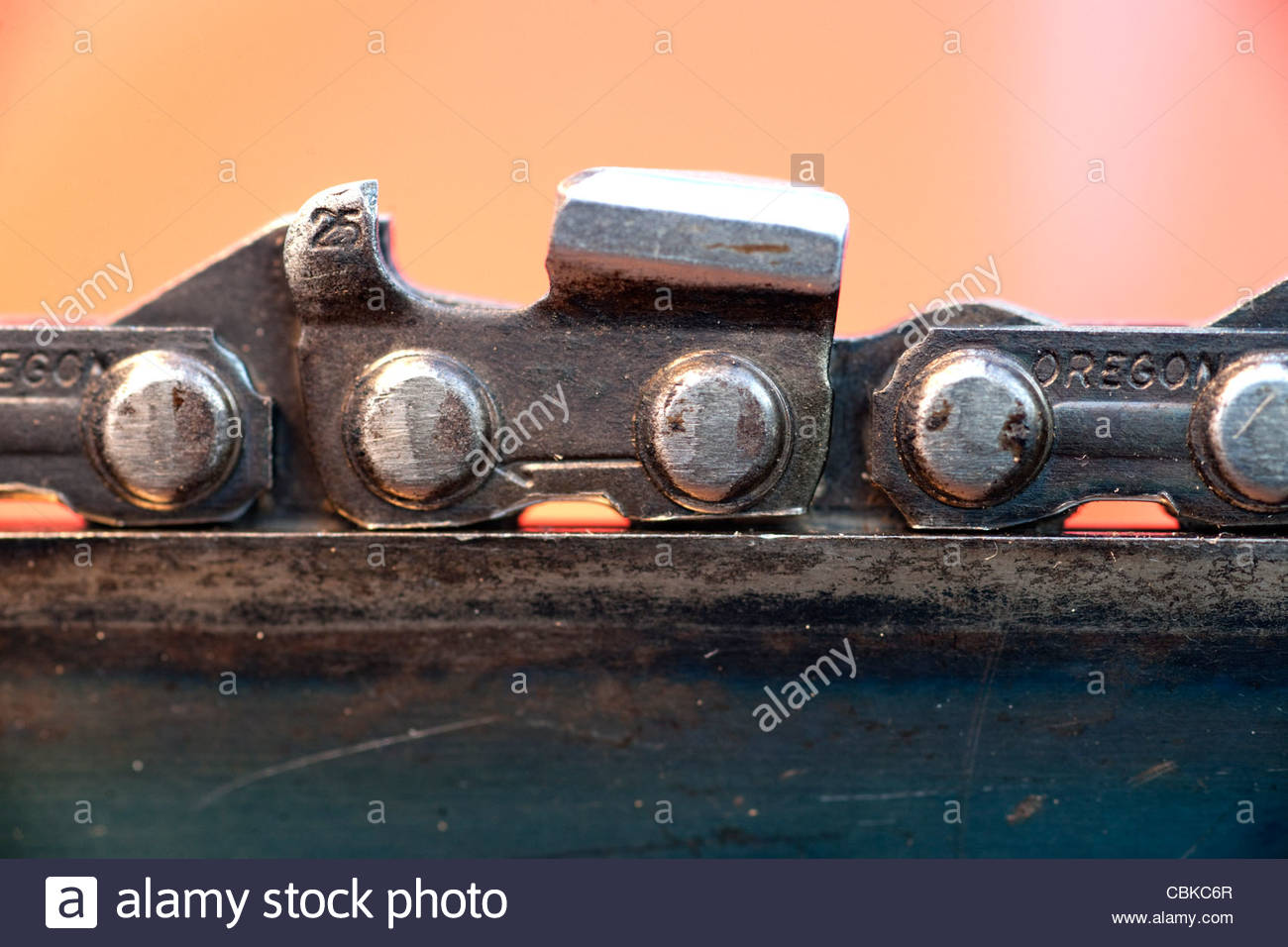 Chainsaw chain and bar Stock Photo