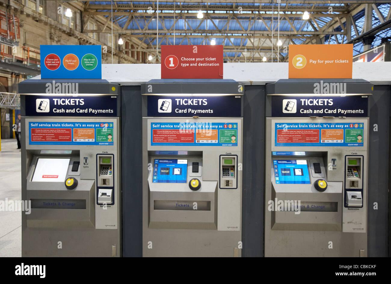 automatic train ticket machines at waterloo rail station london england united kingdom uk - Stock Image