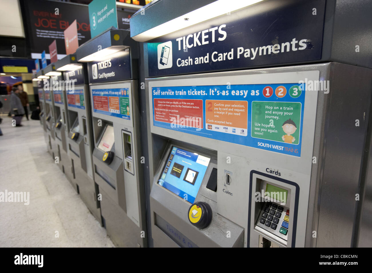 automatic train ticket machines at waterloo rail station london england united kingdom uk - Stock Image