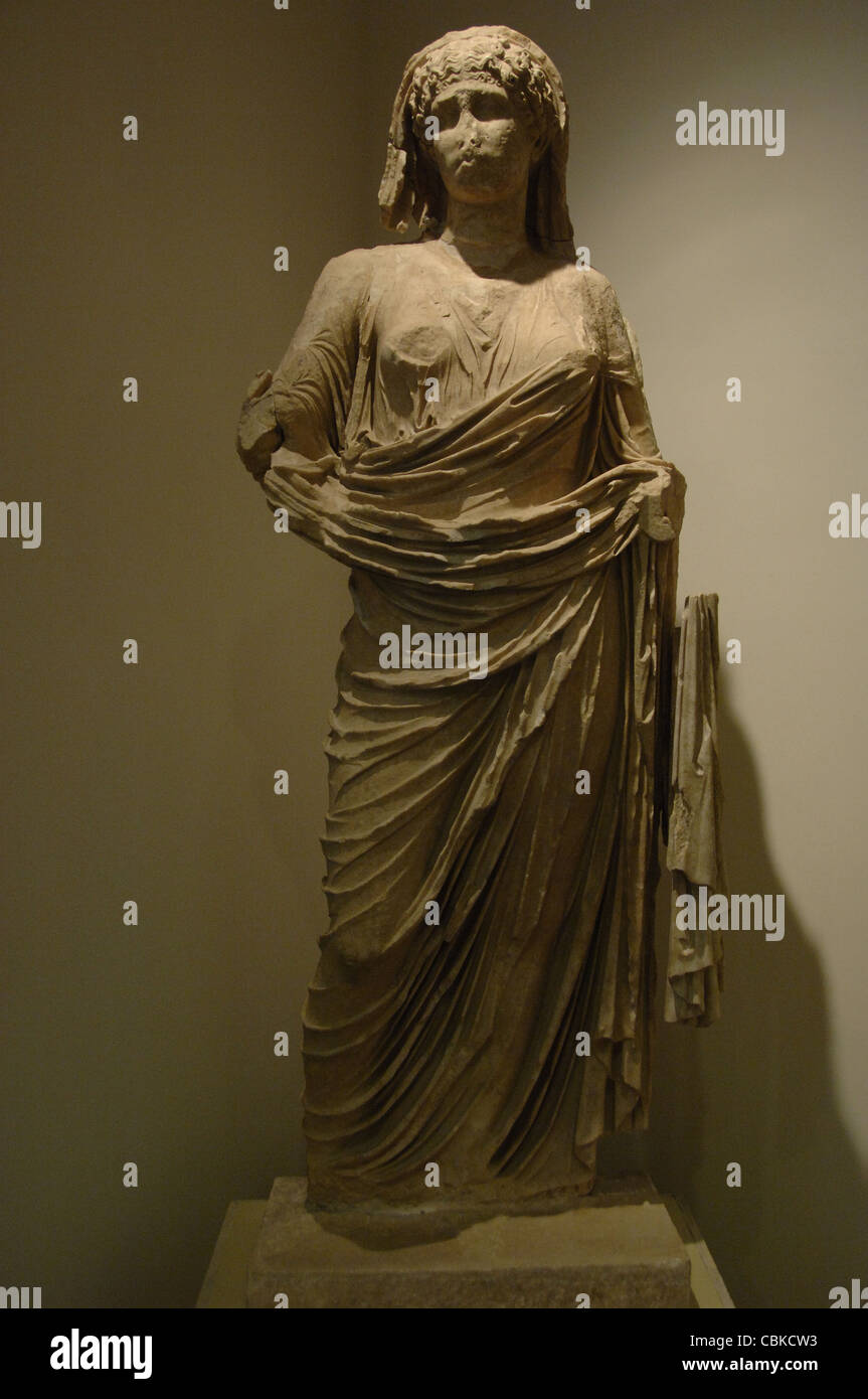 Agrippina Minor or Agrippina the Younger (15/16-59). Archaeological Museum of Olympia. Greece. - Stock Image