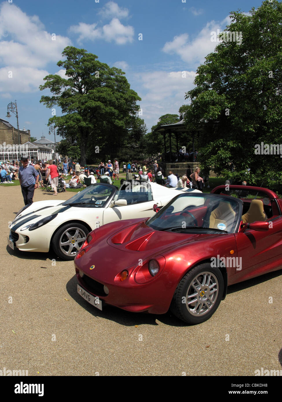 Lotus sports cars on display at a car rally in  Buxton Derbyshire East Midlands England - Stock Image