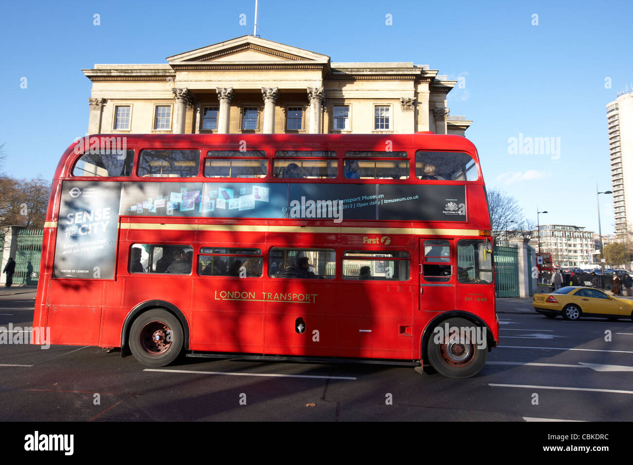 old routemaster red double deck bus in front of apsley house at hyde park corner london england uk united kingdom - Stock Image