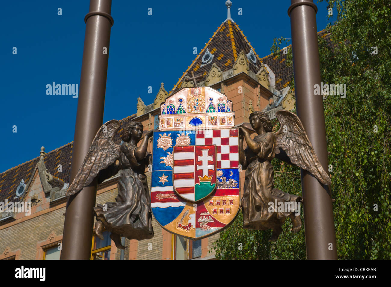 Coat of arms outside Town hall at Kossuth Lajos ter square Belvaros the city centre Kecskemet Hungary Europe - Stock Image