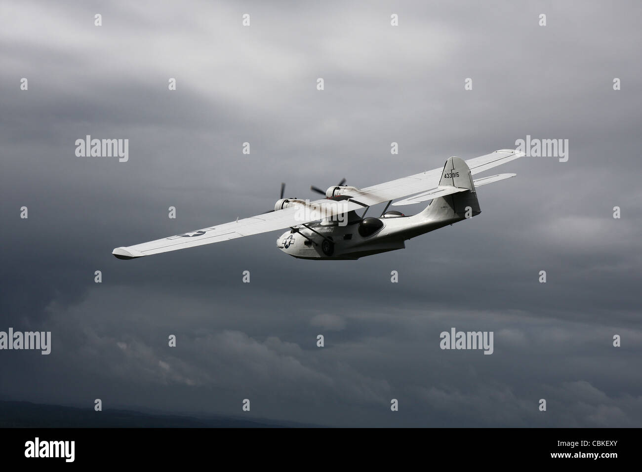 Consolidated PBY Catalina vintage flying boat in U.S. Army Air Force naval rescue colors. - Stock Image