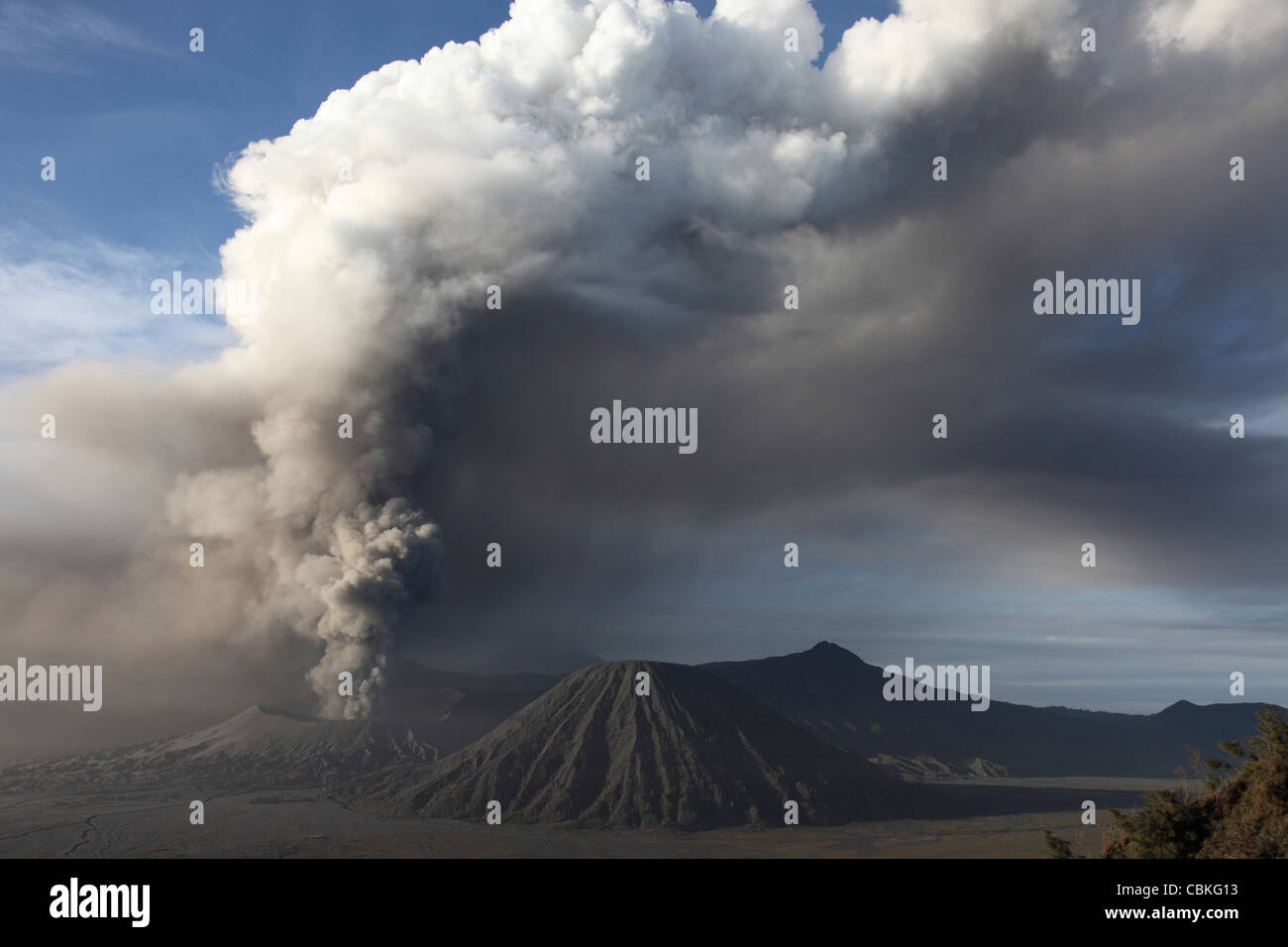 March 19, 2011 - Eruption of ash cloud from Mount Bromo volcano, Tengger Caldera, Java, Indonesia. - Stock Image