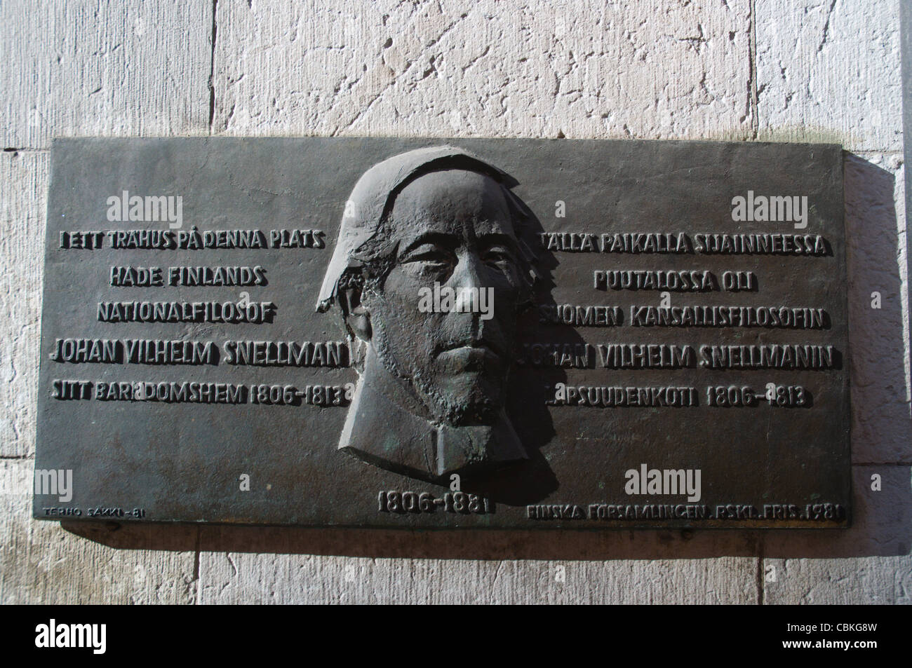 Plaque commemorating the childhood home of Johan Snellman a Finnish statesman and philosopher Södermalm district - Stock Image