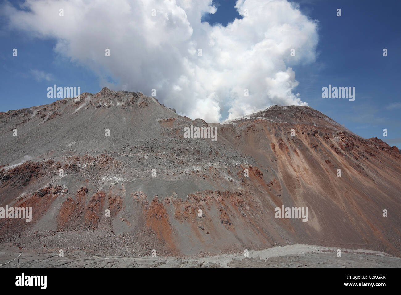 December 6, 2009 - Degassing Lava Dome sitting in summit crater of Chaiten volcano, Chile. - Stock Image