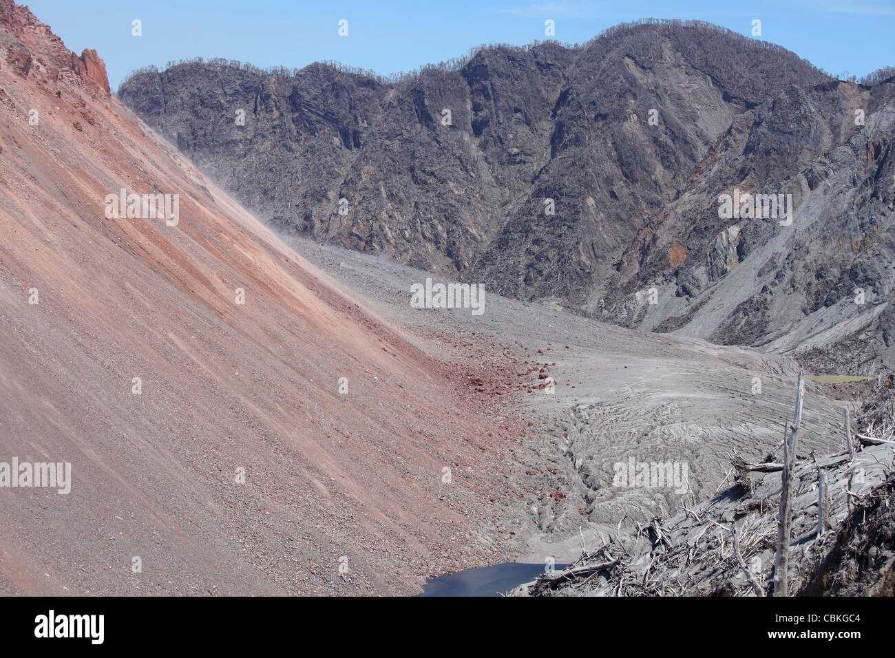 December 6, 2009 - Lava Dome rising from floor of summit crater of Chaiten volcano, Chile. - Stock Image