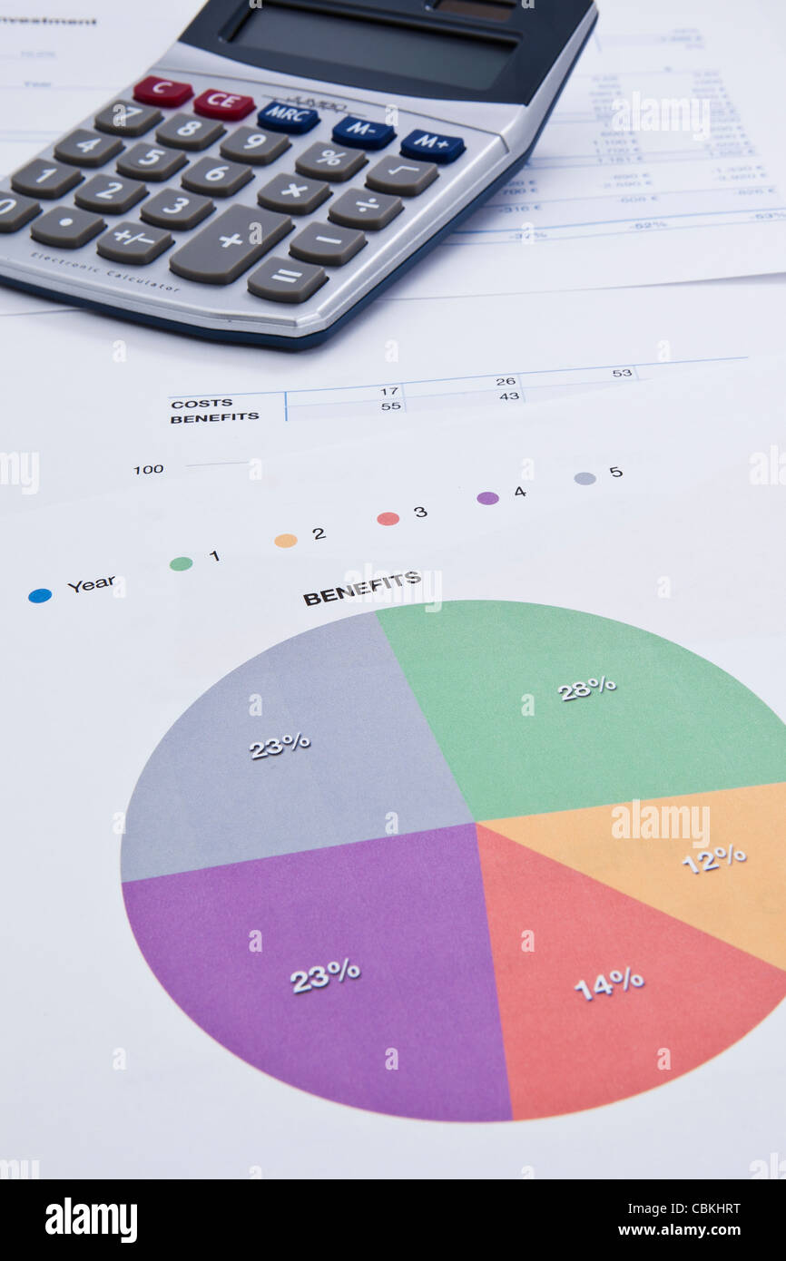 a financial report showing benefits from different activities - Stock Image