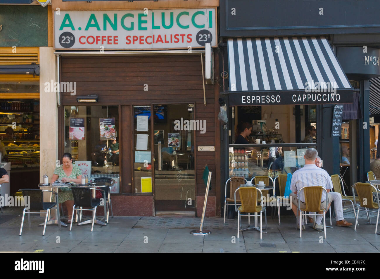 Cafes along Frith Street in Soho district central London England UK Europe - Stock Image