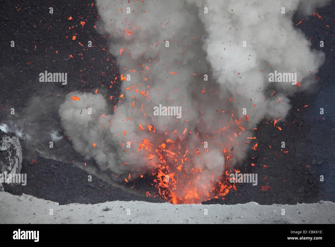 May 29, 2010 - Explosive Strombolian eruption from vent in summit crater, Yasur Volcano, Tanna Island, Vanuatu. - Stock Image