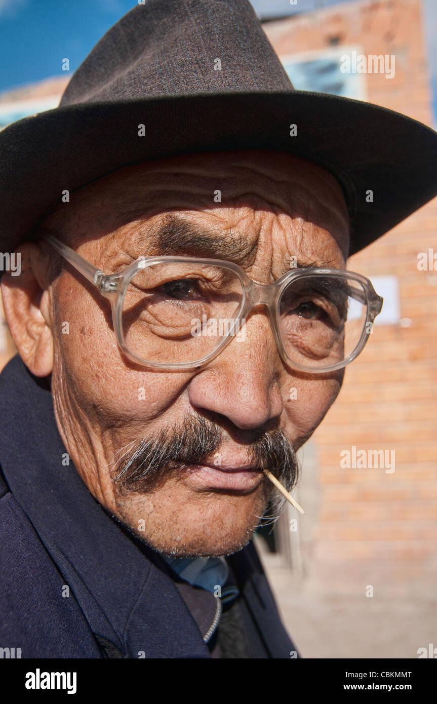 portrait of an old Kazakh man the Altai Region of Bayan-Ölgii in Western Mongolia Stock Photo