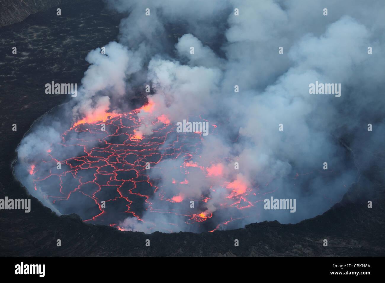January 22, 2011 - Lava Lake with small lava fountains, Nyiragongo Volcano, Democratic Republic of the Congo. - Stock Image