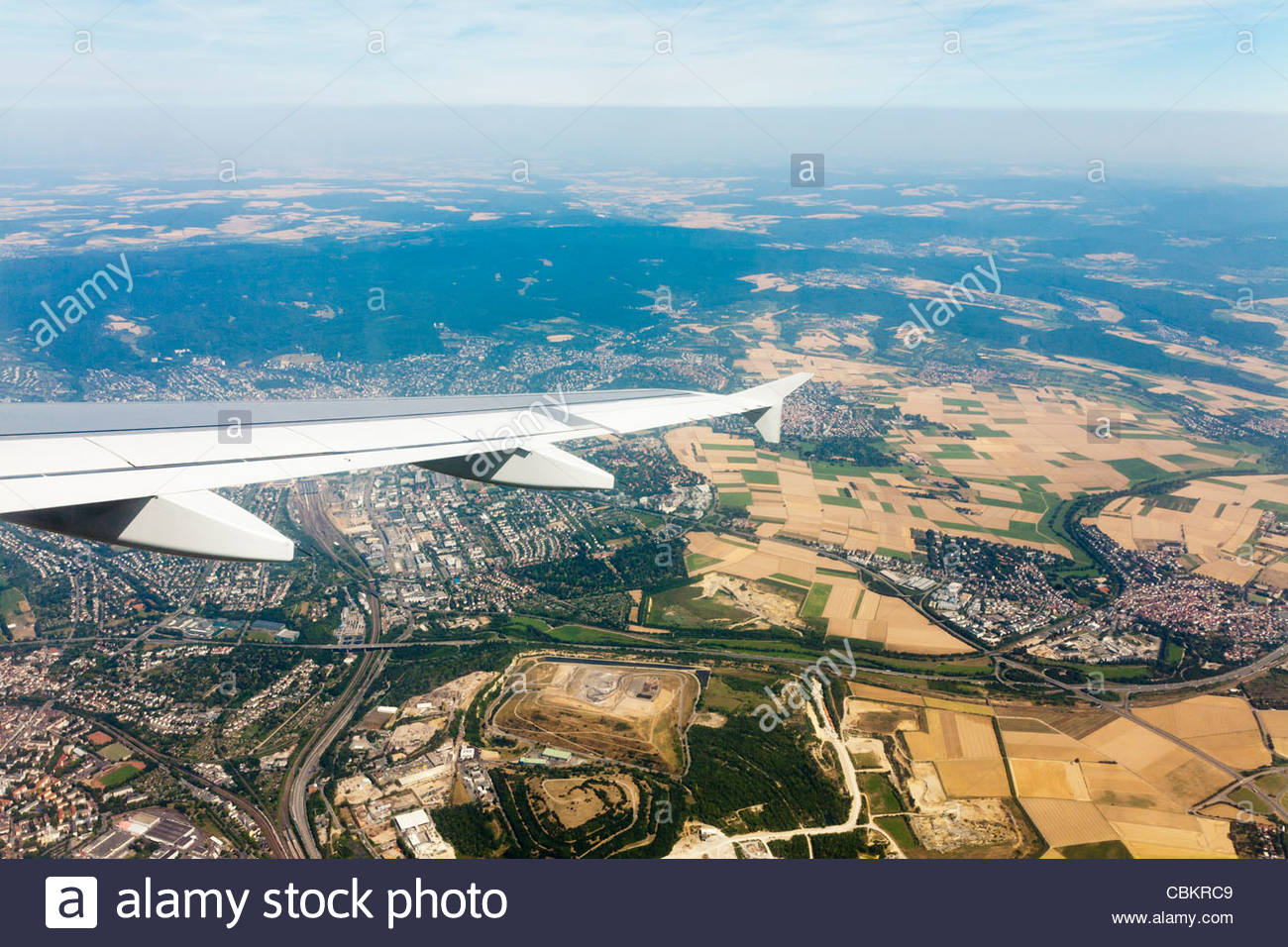 View from airplane as it takes of from Frankfurt International Airport, Frankfurt, Germany - Stock Image