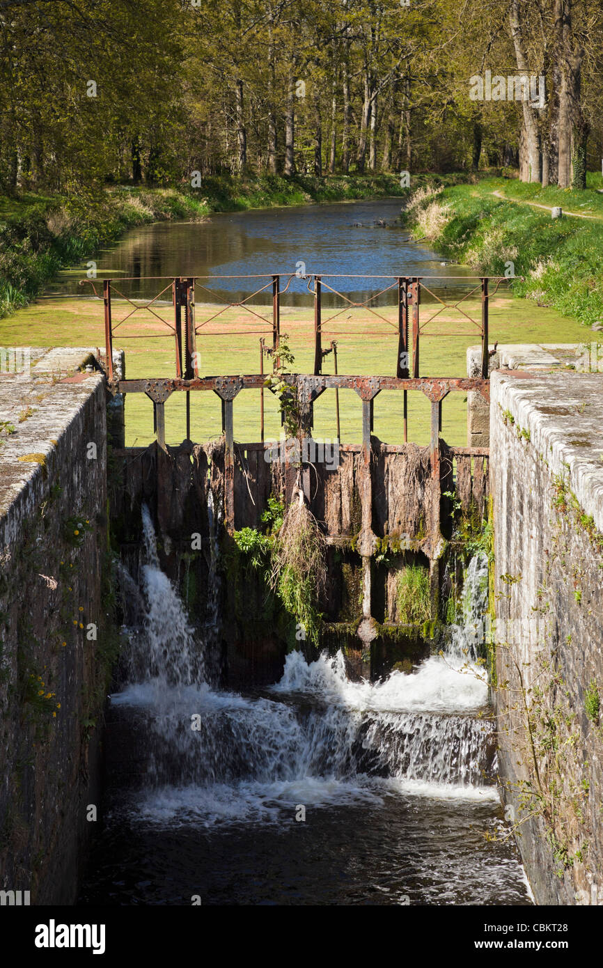 Lock on the Nantes Brest Canal, Brittany, France - Stock Image