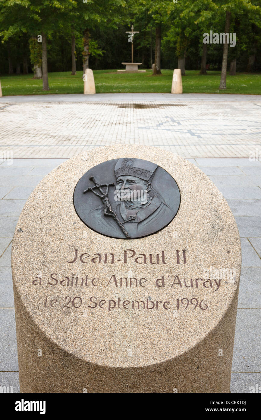 Plinth commemorating the of the visit of Pope John Paul II to St Anne dAuray, Morbihan, Brittany, France - Stock Image