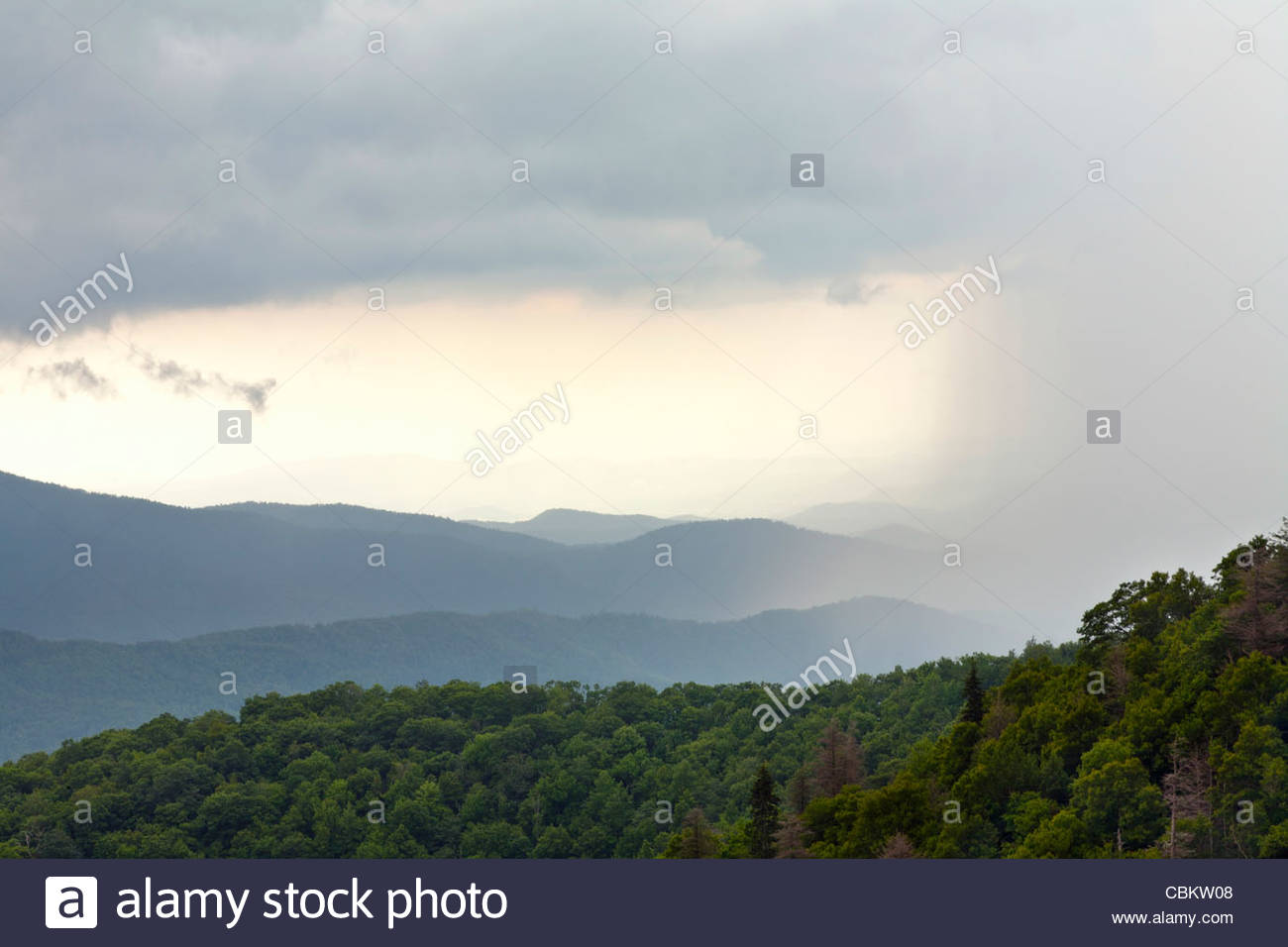 Summer rainstorm moves over a valley near Graveyard Fields, Blue Ridge Parkway, North Carolina, United States - Stock Image