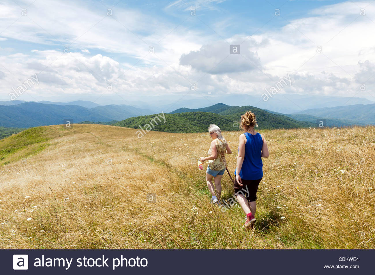 Two hikers on a section of the Appalachian Trail crossing Max Patch Bald on the North Carolina-Tennessee Border, - Stock Image