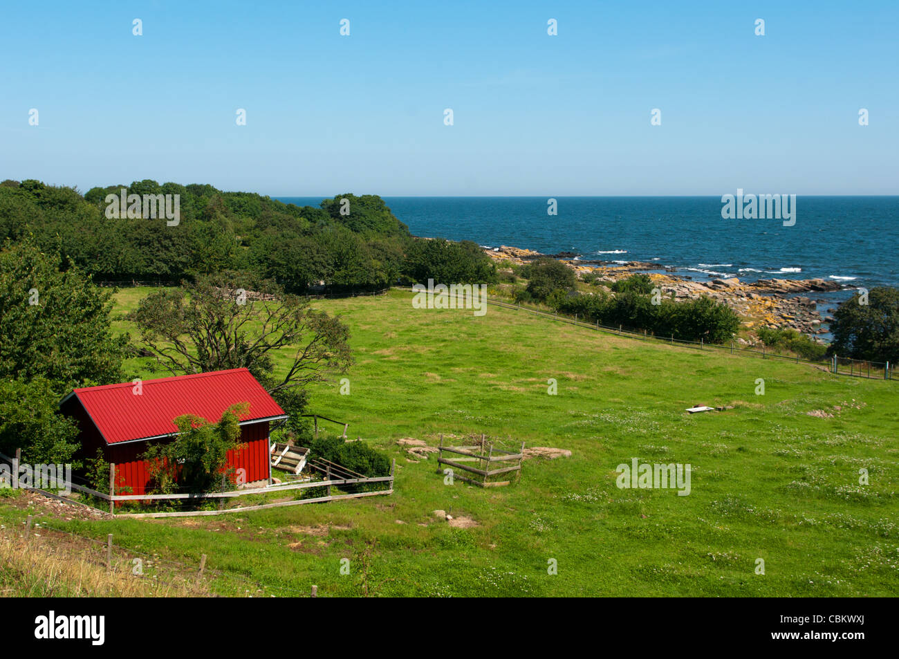 House of descent to the sea. Bornholm in Denmark. Stock Photo