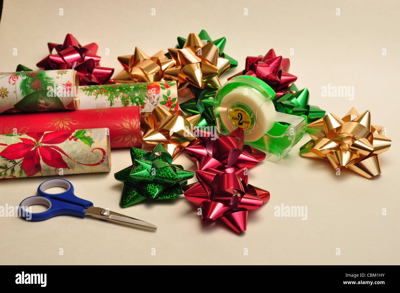Wrapping paper and bows - Stock Image
