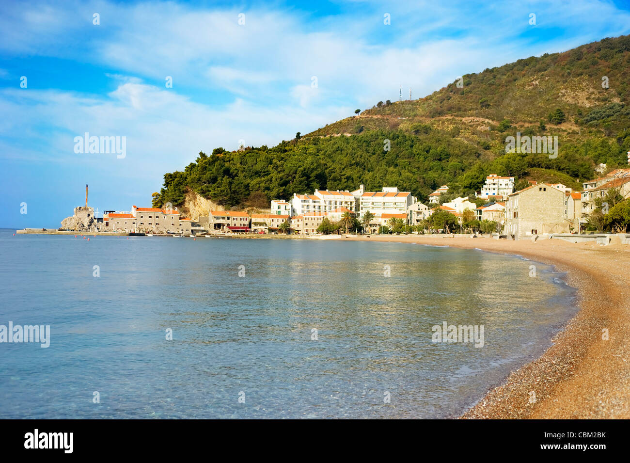 Beach in Petrovac city in the sunshine day. Montenegro - Stock Image