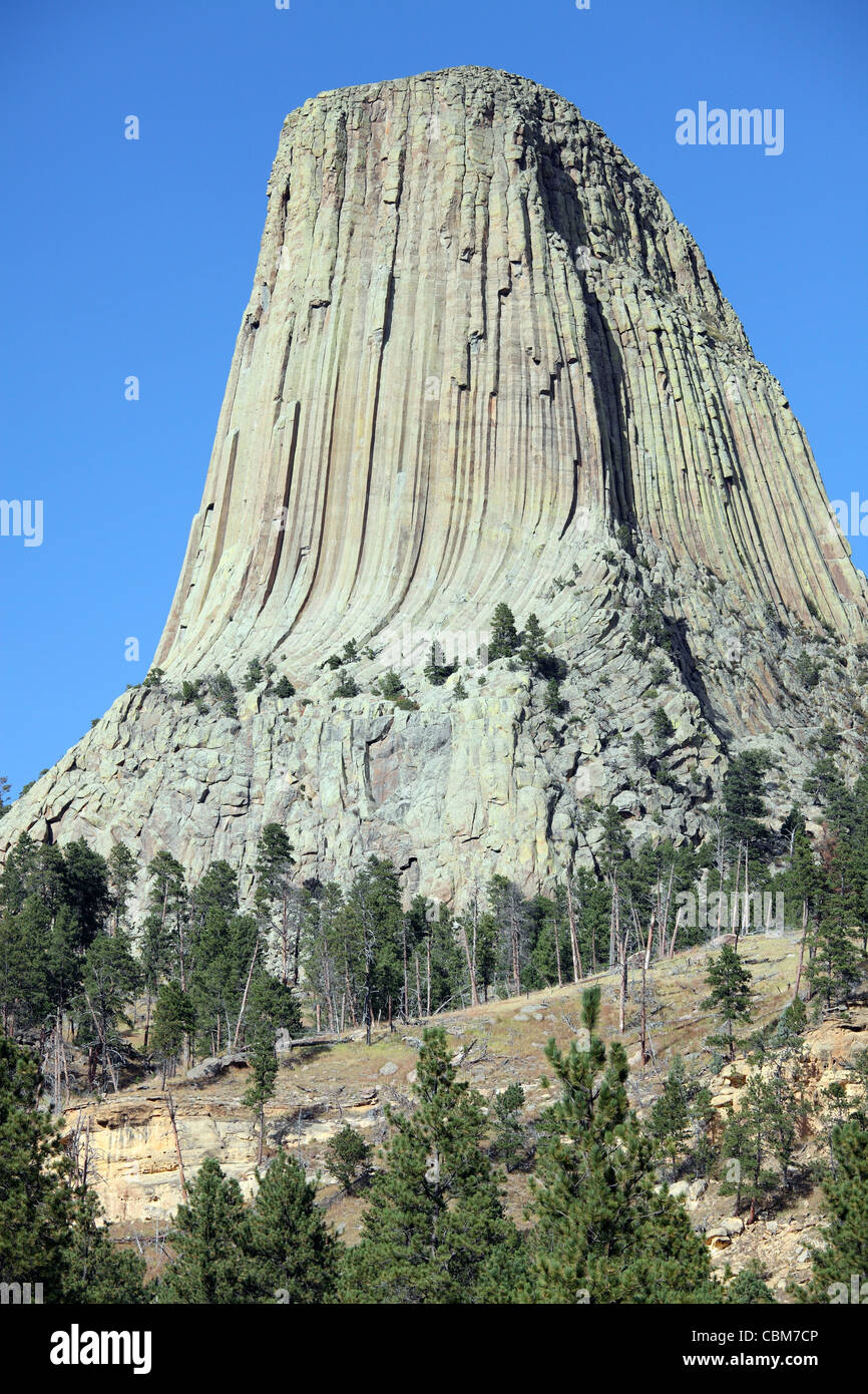 September 15, 2009 - Devils Tower, a monolithic igneous intrusion or laccolith made of columns of phonolite porphyry, - Stock Image